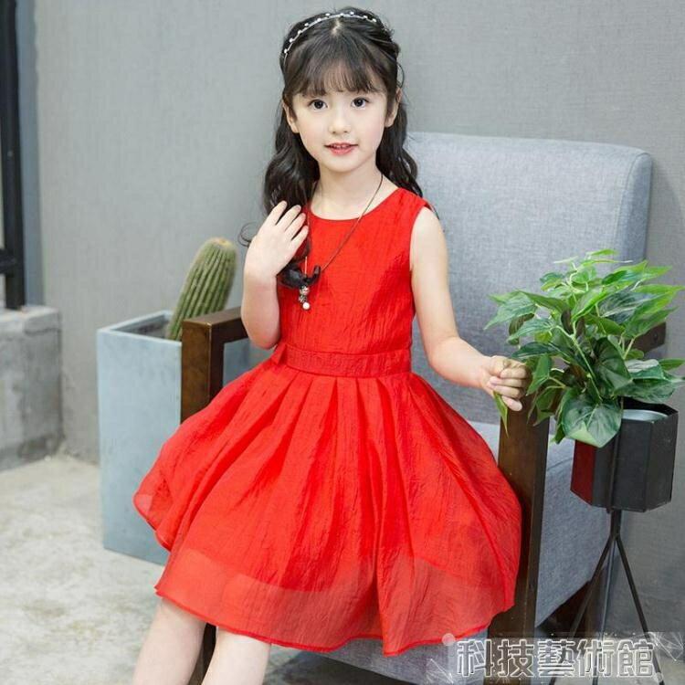 童裝夏季無袖純色連身裙女童2019夏裝新款洋氣時髦裙子兒童夏款裙 領券下定更優惠