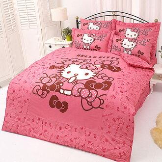 【享夢城堡】HELLO KITTY 我的小可愛系列-單人純棉三件式床包涼被組(粉)(紅)