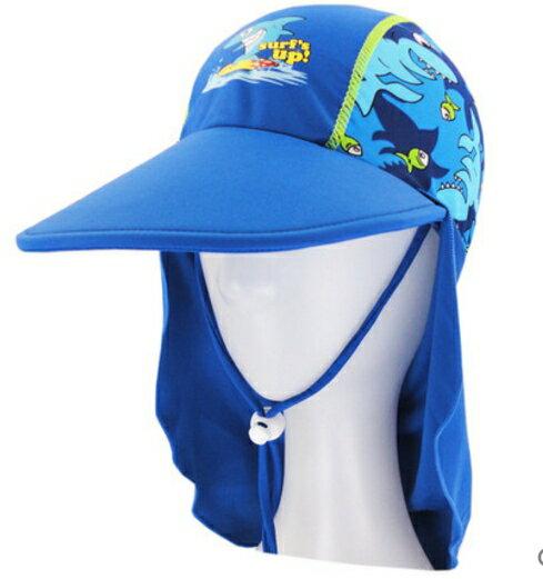 夏季兒童帽子護頸防曬沙灘帽男童寶寶防曬游泳帽-鯊魚款