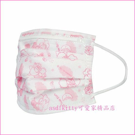 asdfkitty可愛家☆雙子星高密度不織布兒童口罩-特殊耳繩設計.耳朵不易痛毆-日本正版商品