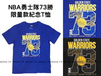 《五折》Shoestw【8630273-550】NBA 背號T恤 金州 勇士73勝 限量紀念短袖 CURRY 藍色