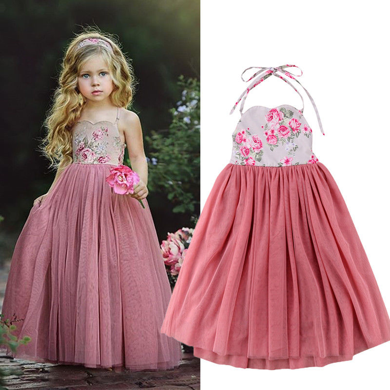 cbccab25c3 Long Princess Girls Dress Flower Solid Baby Lace Party Gown Formal Dresses