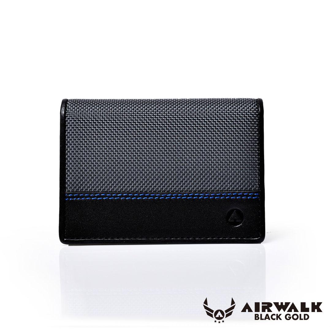 AIRWALK黑金系列-跳色繡線真皮名卡片夾 - 灰