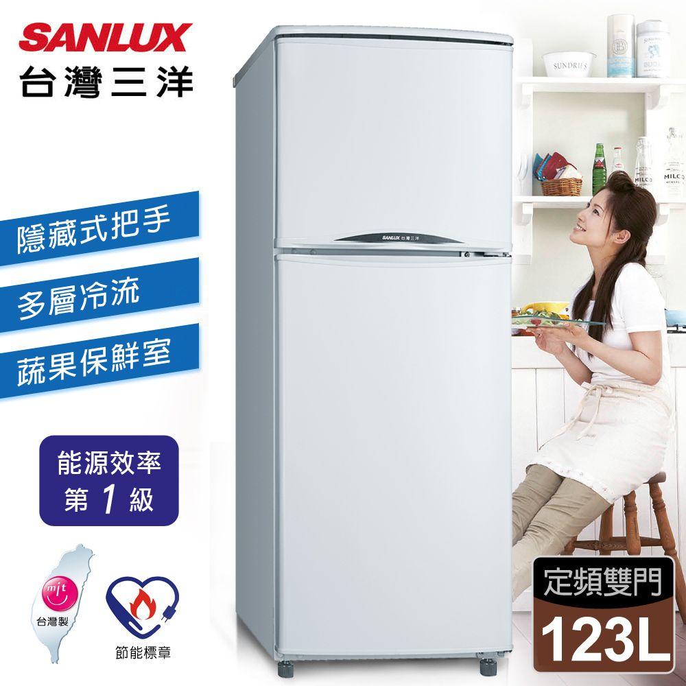 【台灣三洋 SANLUX】123公升定頻二門電冰箱/珍珠白 SR-B123B