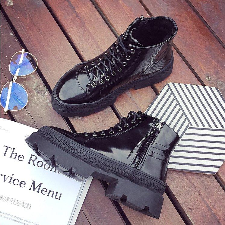 FINDSENSE品牌  女  潮 休閒 綁帶 馬丁靴 黑色