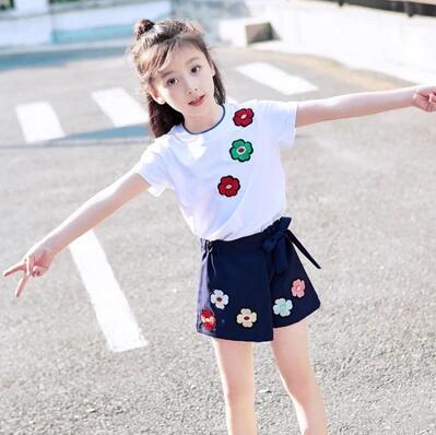 【葉子小舖】2018夏季童裝-刺繡小花套裝兩件式套裝女童裝短袖透氣舒適連衣裙