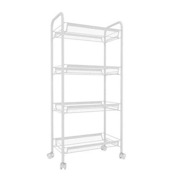 3/4/5 Tier Rolling Cart Organization with Wheels Net Basket Storage Cart Rack 3