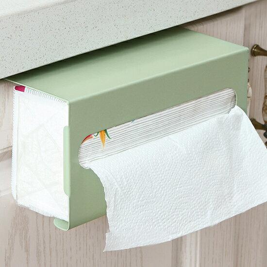 ♚MY COLOR♚櫥櫃鐵藝紙巾掛架 櫥櫃門 壁掛 廚房用紙 收納架 免釘 衛生間【L198】