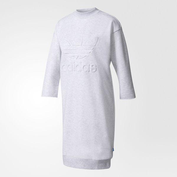 ADIDAS SWEATSHIRT DRESS 女裝 長版 上衣 七分袖 舒適 棉質 洋裝