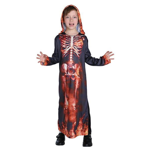 X射線 精緻禮品:X射線【W370039】火焰骷髏長袍,化妝舞會火焰骷髏尾牙萬聖節cosplay表演兒童變裝攝影寫真