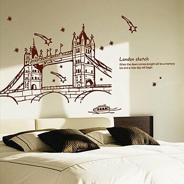 BO雜貨【YV4177】創意可移動壁貼 牆貼 背景貼 時尚組合壁貼 棕色倫敦橋