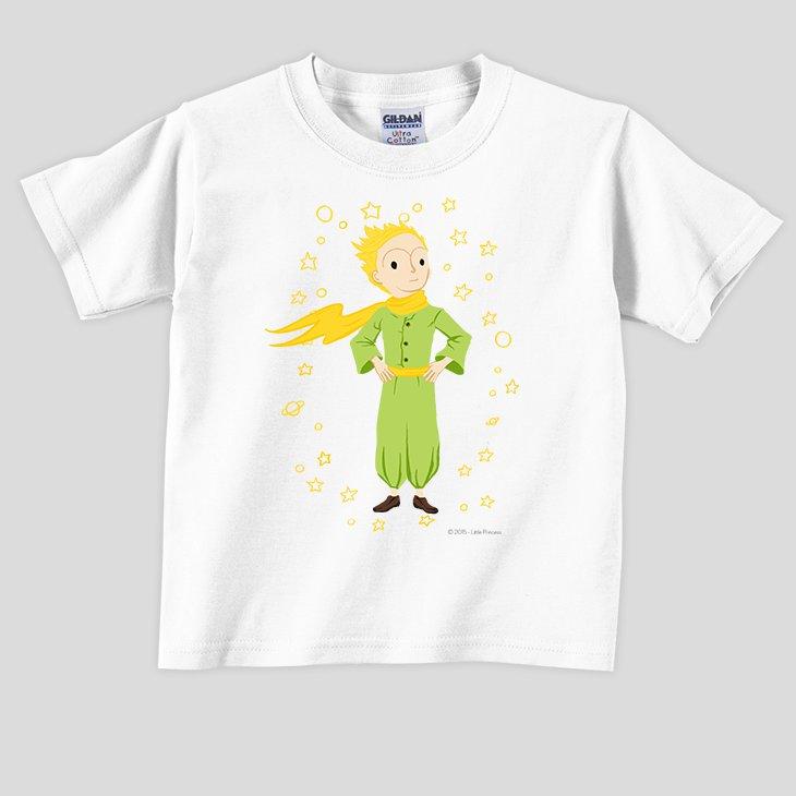 小王子電影版授權 - T恤:【 星星王子 】兒童短袖 T-shirt ( 白 / 粉紅 / 水藍 / 麻灰 )
