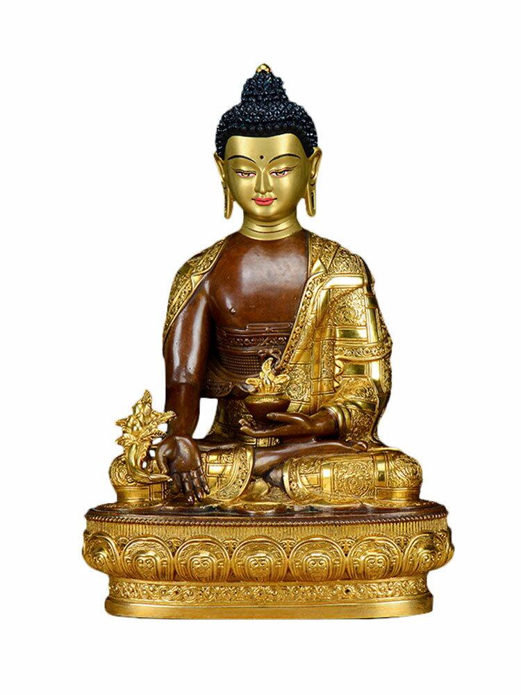 歐斯特 藥師佛佛像 藏傳佛教居家供奉7寸銅鎏金鎏銀禪意客廳擺件