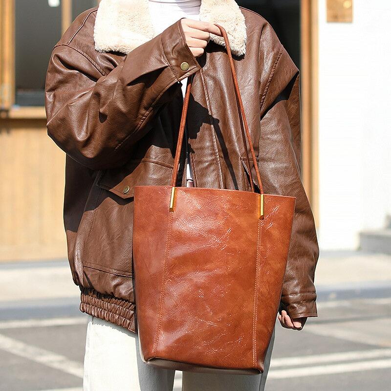新款韓版時尚水桶包休閒大容量手提子母包簡約復古pu皮單肩包女包