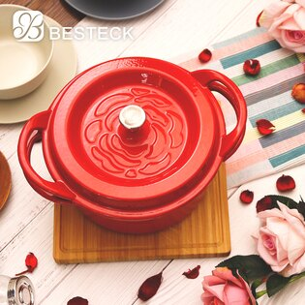【BESTECK】玫瑰琺瑯鑄鐵鍋-24CM