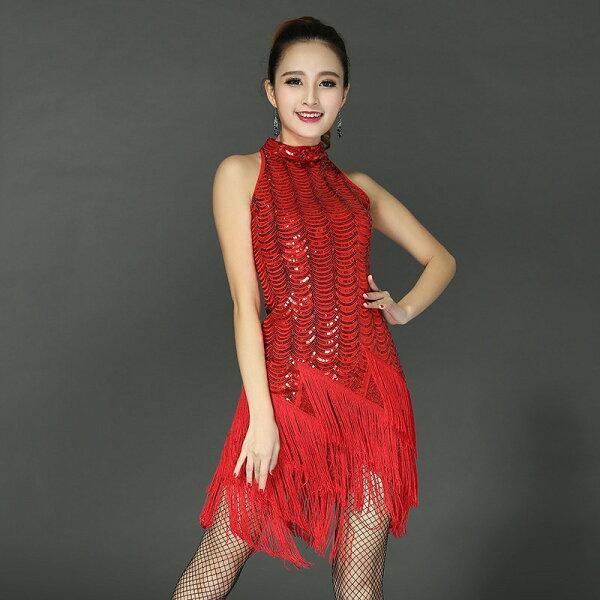 美琪新款拉丁舞服裝高檔亮片流蘇拉丁舞裙演出服