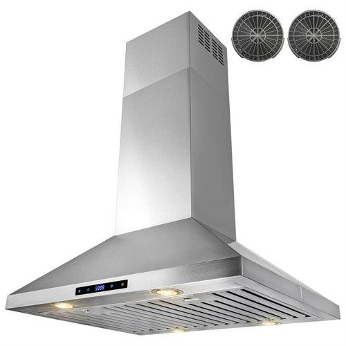 "30"" Stainless Steel Island Mount Range Hood Touch Screen Display Light Lamp Ductless Vented 2"