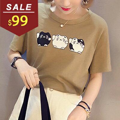 T恤 三隻胖胖貓前短後長短袖上衣 小豬兒 MiNi Jule 【SCA61046513】