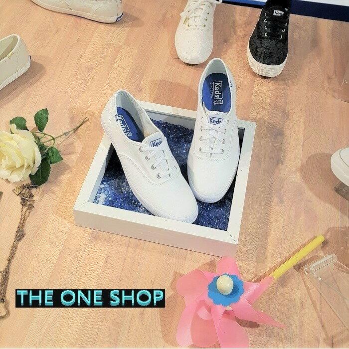 TheOneShop Keds 經典款 小白鞋 帆布 藍標 白色 全白 薄底 修長 百搭 基本款 帆布鞋 品牌主打 穿搭必備 WF34000