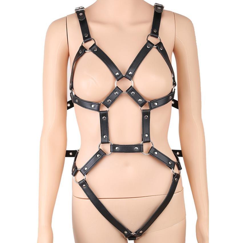 M092 成人用品束縛皮革鐵鍊綑綁拘束 SM女王調教角色扮演露乳連身衣