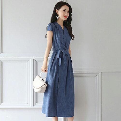 *ORead*V領修身中長款棉麻連身裙(藍色M~2XL) - 限時優惠好康折扣