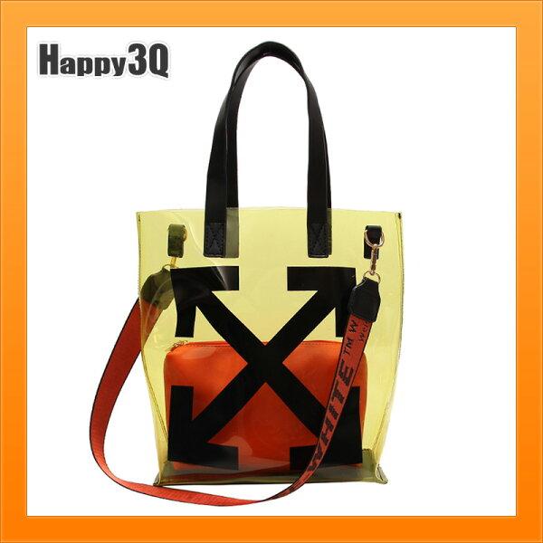 透明包包手提包雙肩包單肩包透視包清爽風格果凍包-橘銀黑【AAA4588】