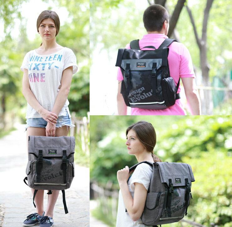 防水後背包 插扣方型背包19L 戶外休閒背包 都會電腦包 袋子尺寸:56.5 x 25.5 x 14.5 公分 【N5203】