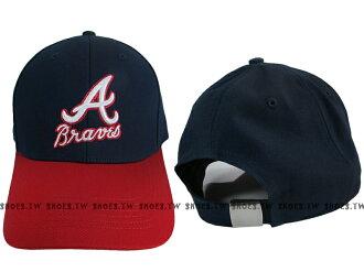 Shoestw【5432001-580】MLB 棒球帽 調整帽 老帽 勇士隊 深藍紅 凸繡