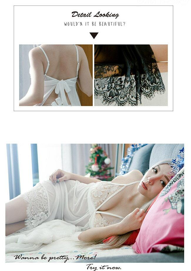 夏日新品睡衣蕾絲薄紗性感睡衣中長性感睡衣連身睡衣含丁字褲~流行E線A7159 6