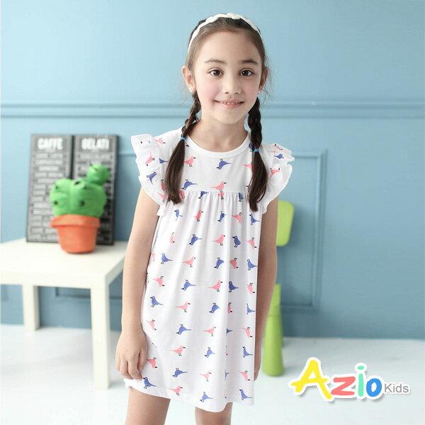 《Azio Kids 美國派》洋裝 可愛小鳥印花荷葉邊洋裝(白)