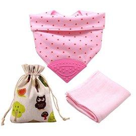 【淘氣寶寶】美國 Meta-U 嬰兒咬咬兜/領巾/圍兜/固齒器 (附外袋+竹纖維方巾) 粉點點