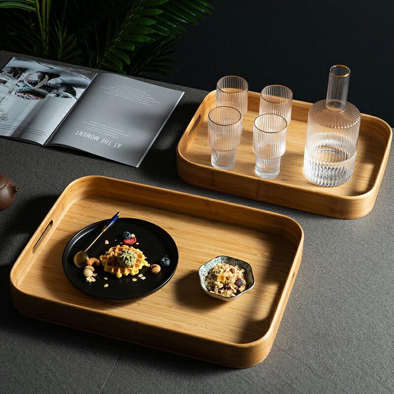 茶盤 竹製托盤長方形家用放茶杯盤子木質餐廳創意日式茶盤水杯餐用托盤【送禮】【XXL4007】