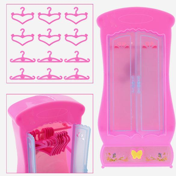 Kid Toy Furniture Wardrobe Closet for Dolls 12pcs Clothes Stand Pink 0