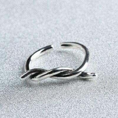 925純銀戒指麻花繩開口戒~復古簡約 風 情人節生日 女飾品73gp26~ ~~米蘭 ~