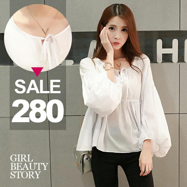 SISI~T6088~清新超寬鬆圓領繫帶泡泡袖棉麻娃娃衫上衣