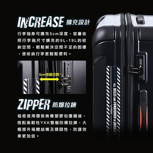 V-ROOX AXIS 28吋 原創設計可擴充行李箱 硬殼防爆雙層拉鏈旅行箱-綠迷彩 4
