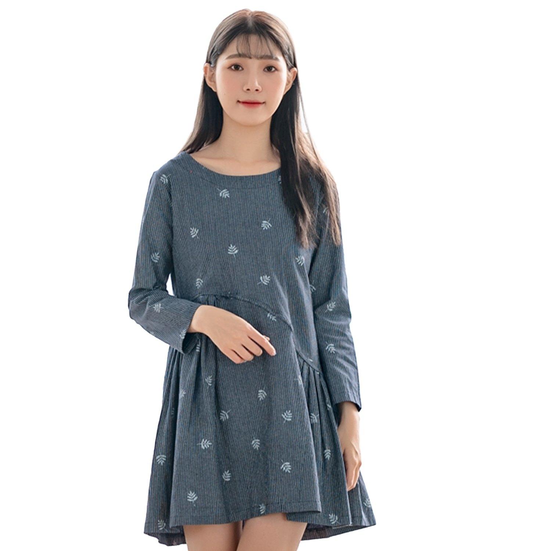 長版上衣--氣質條紋葉子拼接百褶壓紋寬鬆修身圓領長袖上衣(粉.藍L-3L)-X335眼圈熊中大尺碼 0