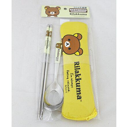 [敵富朗超市]拉拉熊-OPP袋潛水布不銹鋼餐具組加大系列 0