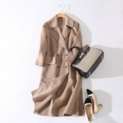 毛呢外套羊毛大衣-中長款雙排扣純色寬筒袖女外套2色73ty23【獨家進口】【米蘭精品】