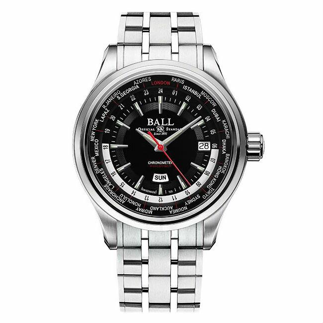 BALL 波爾錶 GM2020D-S2CJ-BK Trainmaster Worldtime天文台世界時間機械腕錶/黑面41mm