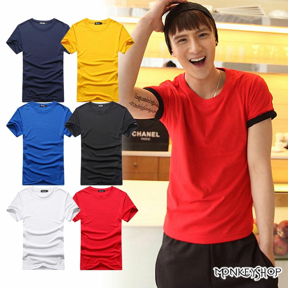 《Monkey Shop》【A35106】MIT情侶款韓版機能吸濕排汗涼感衣短袖T恤-6色 0