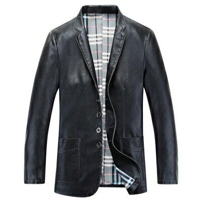 皮衣夾克外套-秋季翻領純色單排扣男夾克3色73pn17【獨家進口】【米蘭精品】 1