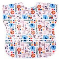 台灣【Baby City】防水短袖圍兜-6種花色(3-5歲)  1