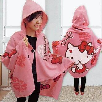 【UNIPRO】Hello Kitty 蝴蝶結甜心 懶人毯 保暖毯 帽毯 披肩 三麗鷗正版授權 台灣精品 KT