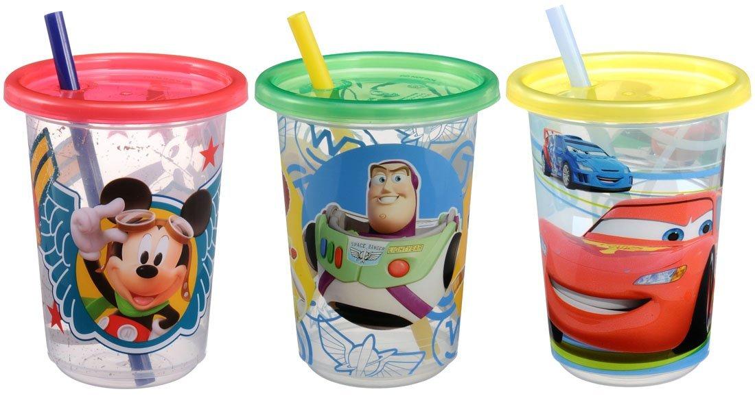 X射線【C476573】迪士尼 塑膠吸管杯3入,水瓶/隨身瓶/直飲水壺/學習杯/漱口杯/果汁杯/日本製