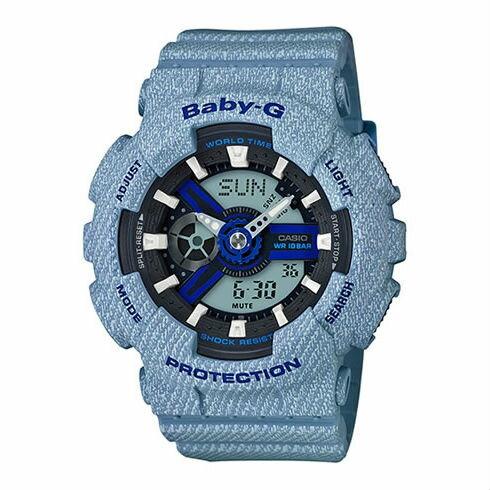 CASIOBABY-GBA-110DE-2A2牛仔丹寧流行時尚雙顯腕錶43mm
