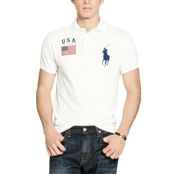 美國百分百【全新真品】RalphLaurenPolo衫RL短袖上衣Polo大馬國旗白色C255