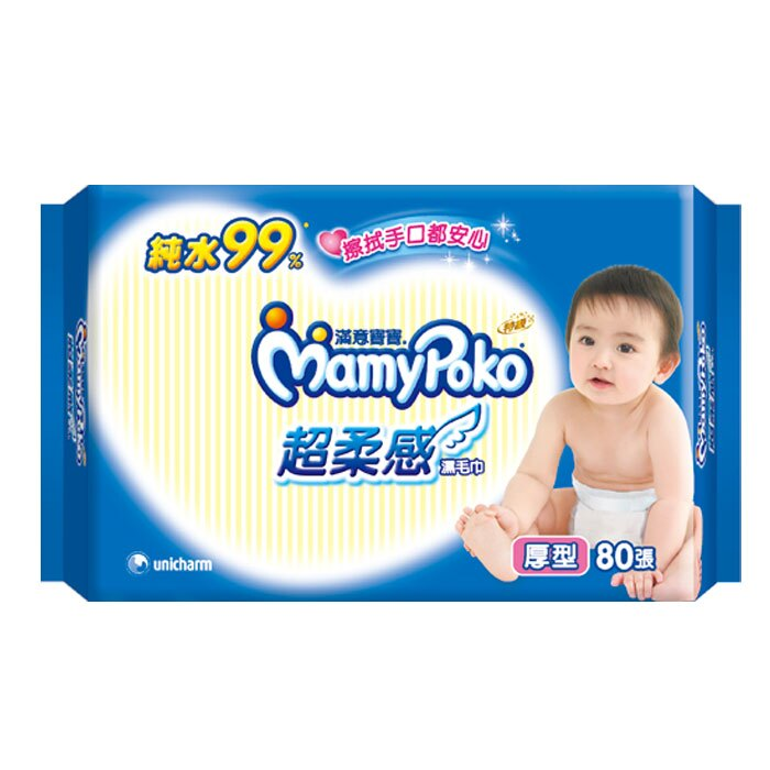 滿意寶寶 純水 超柔感 濕毛巾 厚型 80張 / 包 1