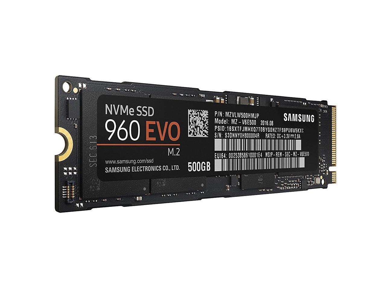 Samsung SSD 960 EVO 500GB M.2 2280 PCIe Gen3 x4 PCI-Express 3.0 x4 NVMe 3D V-NAND Internal Solid State Drive MZ-V6E500BW