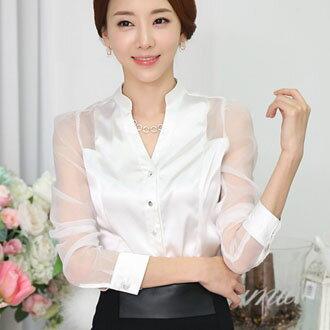 中大  立領純色半透明長袖襯衫 ^~E6304^~ ~ 蓁豔小舖~全店單件,單筆滿520再